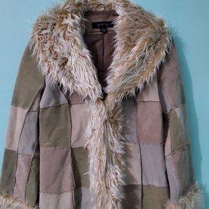 Patchwork Faux Fur Trim Leather Coat